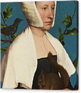 A Lady With A Squirrel And A Starling Canvas Print