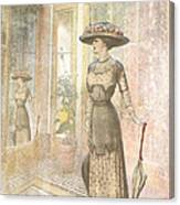 A Lady's Curious Reflection Canvas Print