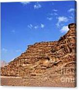 A Landscape Of Rocky Outcrops In The Desert Of Wadi Rum Jordan Canvas Print