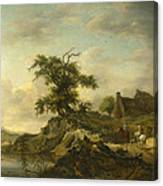 A Landscape With A Farm On The Bank Of A River Canvas Print