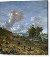 A Landscape With A High Dune And Peasants On A Road Canvas Print