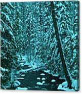A Leaning Tree Over The Little Naches River Canvas Print