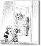 A Little Boy Speaks To A Little Girl Canvas Print