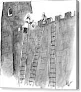 A Lone Medieval Soldier Climbs The Ladder Canvas Print