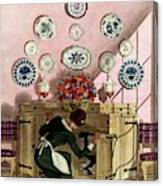A Maid Getting China From A French Provincial Canvas Print
