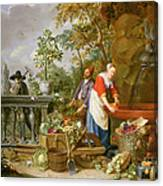 A Maid Washing Carrots At A Fountain Canvas Print