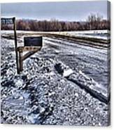 A Mailbox In Winter Canvas Print
