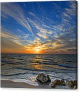 A Majestic Sunset At The Port Canvas Print