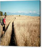 A Male Hiker In Montana Canvas Print