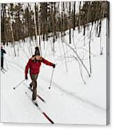 A Man And Woman Cross Country Skiing Canvas Print
