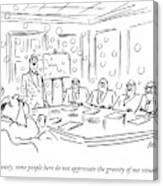 A Man Blow Bubbles At A Meeting Canvas Print