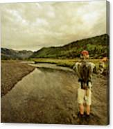 A Man Flyfishing On A River Canvas Print