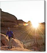 A Man Hiking In The Needles District Canvas Print