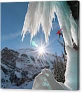 A Man Ice Climbing Louise Falls Canvas Print