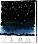 A Man Looks Up At The Night Sky Canvas Print