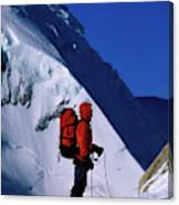 A Man Mountaineering In The Alps Canvas Print