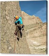A Man Rock Climbing In Rocky Mountain Canvas Print