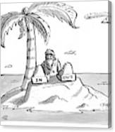 A Man Sits On A Deserted Island With Two Boxes: Canvas Print