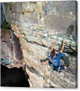 A Man Tackles An Overhanging Sandstone Canvas Print