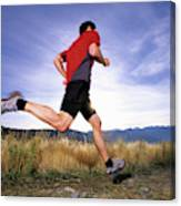 A Man Trail Runs In Salt Lake City Canvas Print