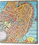 A Map Of Old Boston In The Commonwealth Of Massachusetts Canvas Print