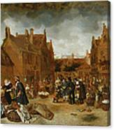 A Marketplace In Winter, 1653 Canvas Print