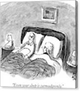 A Married Couple Talks In Bed Canvas Print