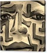 A Maze Ing Face 1 Sepia Canvas Print