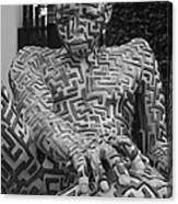 A Maze Ing Man 1 Black And White Canvas Print
