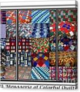 A Menagerie Of Colorful Quilts Triptych Canvas Print