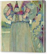 A Middle-class Lady In  Lacy Collar Canvas Print