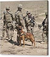 A Military Working Dog Accompanies U.s Canvas Print
