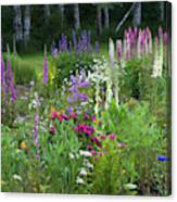 A Mixture Of Flowers Bloom In Hillside Canvas Print