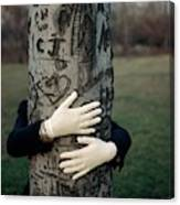 A Model Hugging A Tree Canvas Print
