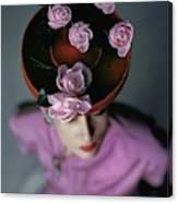 A Model Wearing A Bonwit Teller Hat Canvas Print