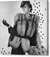 A Model Wearing A Fox Fur Jacket Framed Print By Horst P