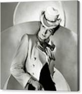 A Model Wearing A Jacket And Hat Canvas Print