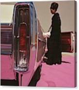 A Model Wearing Emeric Partos Entering A 1965 Canvas Print