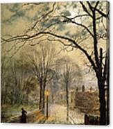 A Moonlit Stroll Bonchurch Isle Of Wight Canvas Print