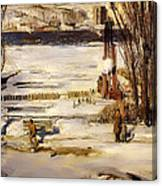A Morning Snow On The Hudson River Canvas Print