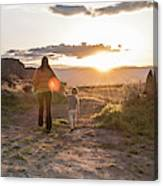A Mother And Child Hike At Sunset Canvas Print