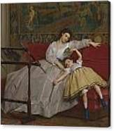 A Mother And Her Young Daughter Canvas Print