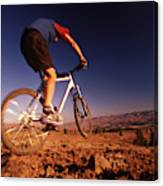 A Mountain Bike Rider On A Ride Canvas Print