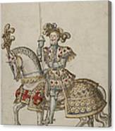 A Mounted Knight With Lance Canvas Print