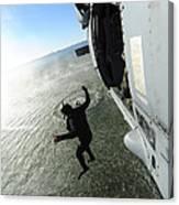 A Naval Air Crewman Jumps From An Canvas Print