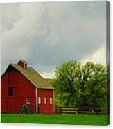 A Neat Red Barn Near Sheridan Wyoming Canvas Print