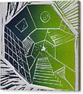 A New Dimension Blue And Green Linocut Canvas Print