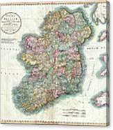 A New Map Of Ireland 1799 Canvas Print