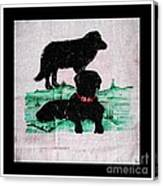 A Newfoundland Dog And A Labrador Retriever Canvas Print