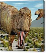 A Pack Of Tyrannosaurus Rex Dinosaurs Canvas Print